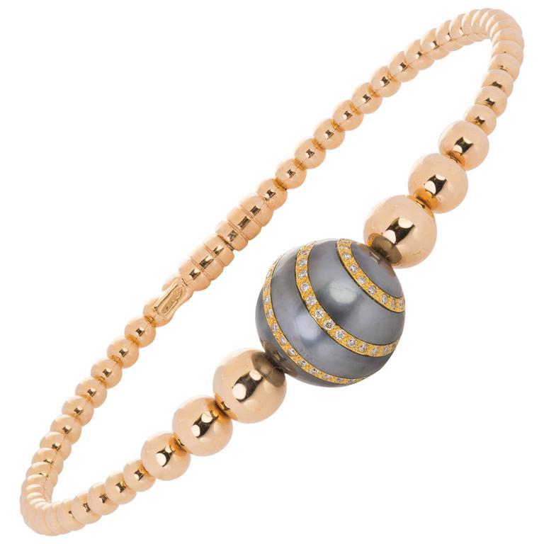 Italian Rose Gold and Pearl Bangle Bracelet