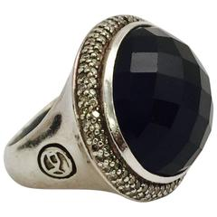 David Yurman East West Design Faceted Onyx Diamond Sterling Silver Ring