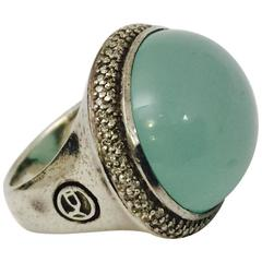 David Yurman East West Design Chalcedony Diamond Sterling Silver Ring