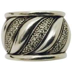 David Yurman Wide Diamond Sterling Silver Band Style Ring