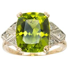 6.50 Carat Peridot Diamond White Gold Cocktail Ring