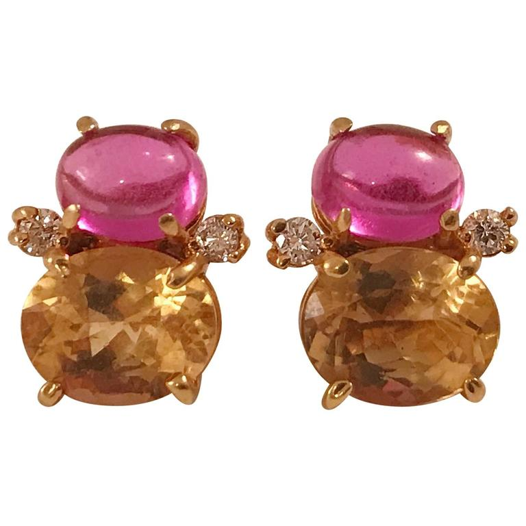 Mini GUM DROP™ Cabochon Pink Topaz and Faceted Citrine Diamond Gold Earrings 1