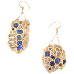 Lapis Aquamarine Garnet Crystal Bronze Earrings