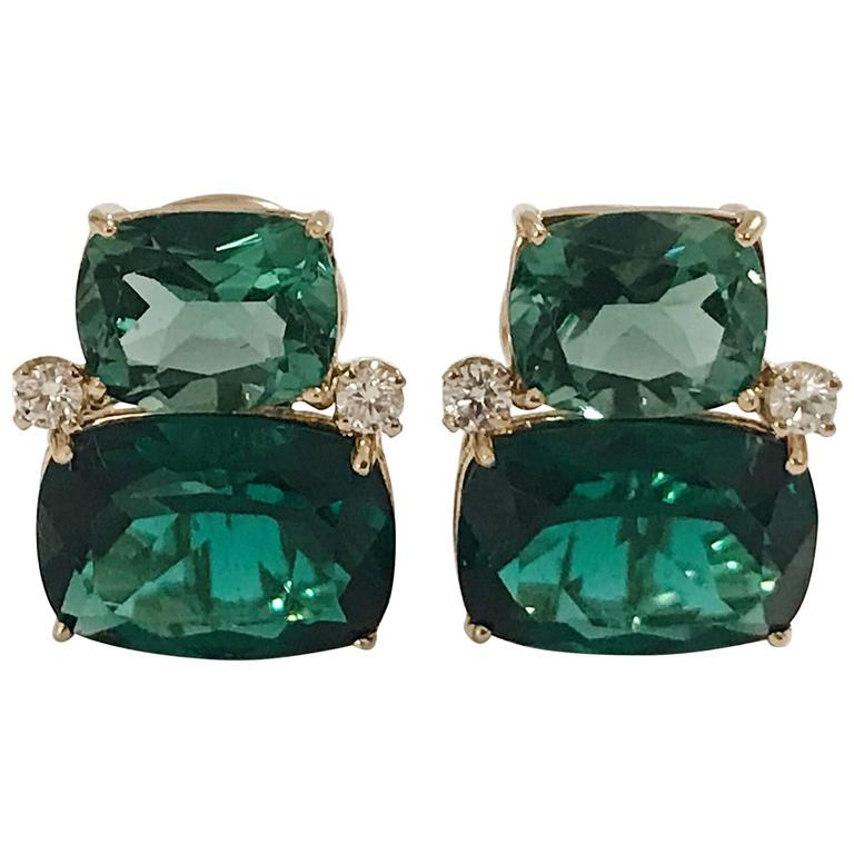 Double Cushion Green Amethyst Stone Diamond Yellow Gold Earrings  1