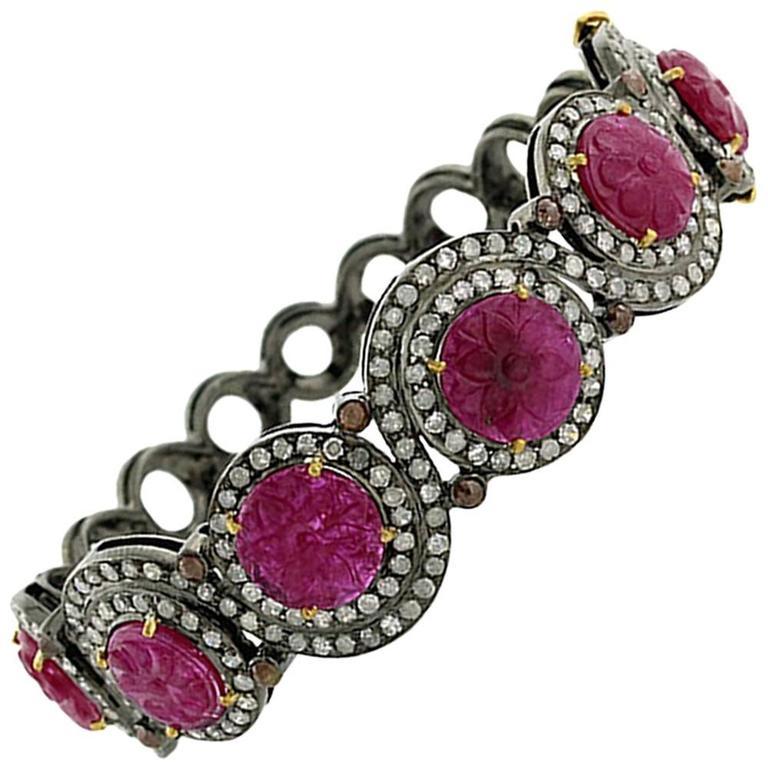 Carved Ruby Diamond Silver Gold Bangle Bracelet