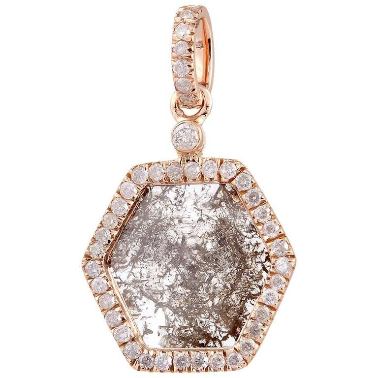 Hexagon Slice and Pave Diamond Yellow Gold Pendant