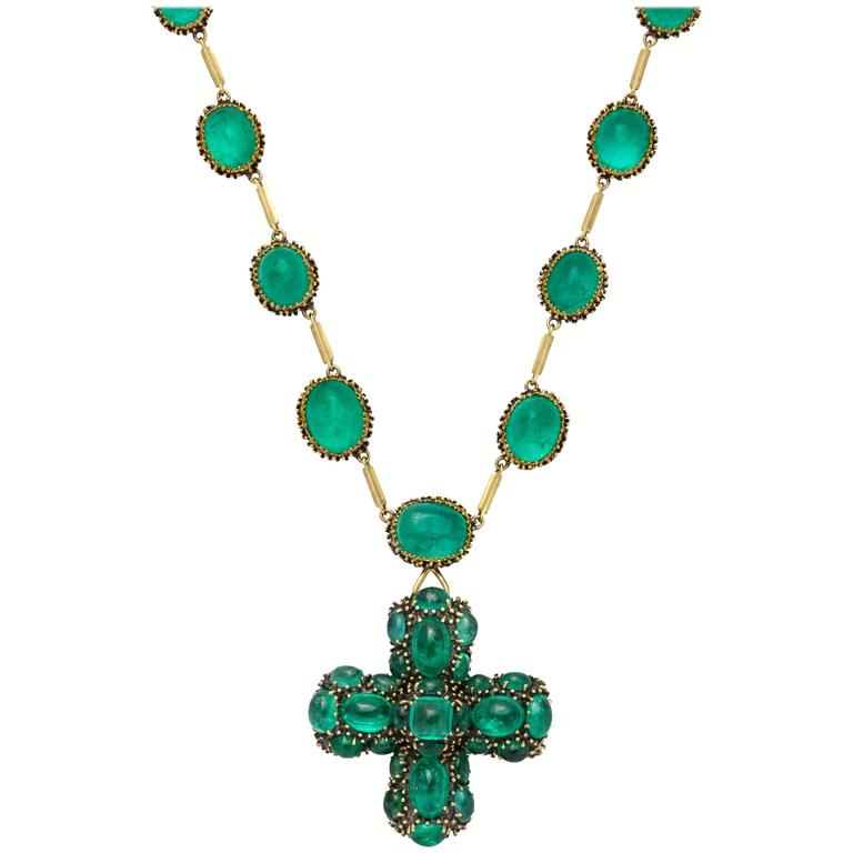 Marilyn Cooperman Cabochon Emerald Cross Pendant and Necklace 1