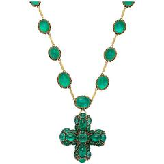 Marilyn Cooperman Cabochon Emerald Cross Pendant and Necklace