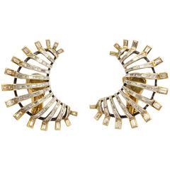 Marilyn Cooperman Baguette Diamond Silver Gold Earclips