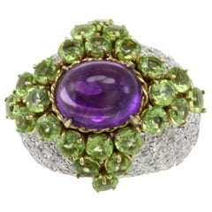 ct 9,03 Peridot Amethyst and ct 4,29 Diamond Gold Cocktail Ring
