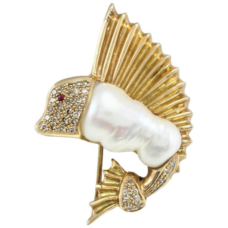 Mother-of-Pearl Ruby Diamond Gold Brooch Pendant