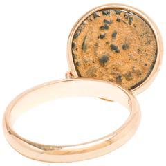 Dubini Emperor Flip Ancient Bronze Coin Rose Gold Ring