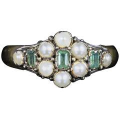 Antique Georgian Emerald Pearl Ring 18 Carat Gold Dated 1821