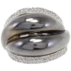 Luise Diamond White and Black Gold Dome Ring