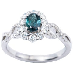 Oval Alexandrite Diamond Color Changing Halo Engagement Ring with Certificate