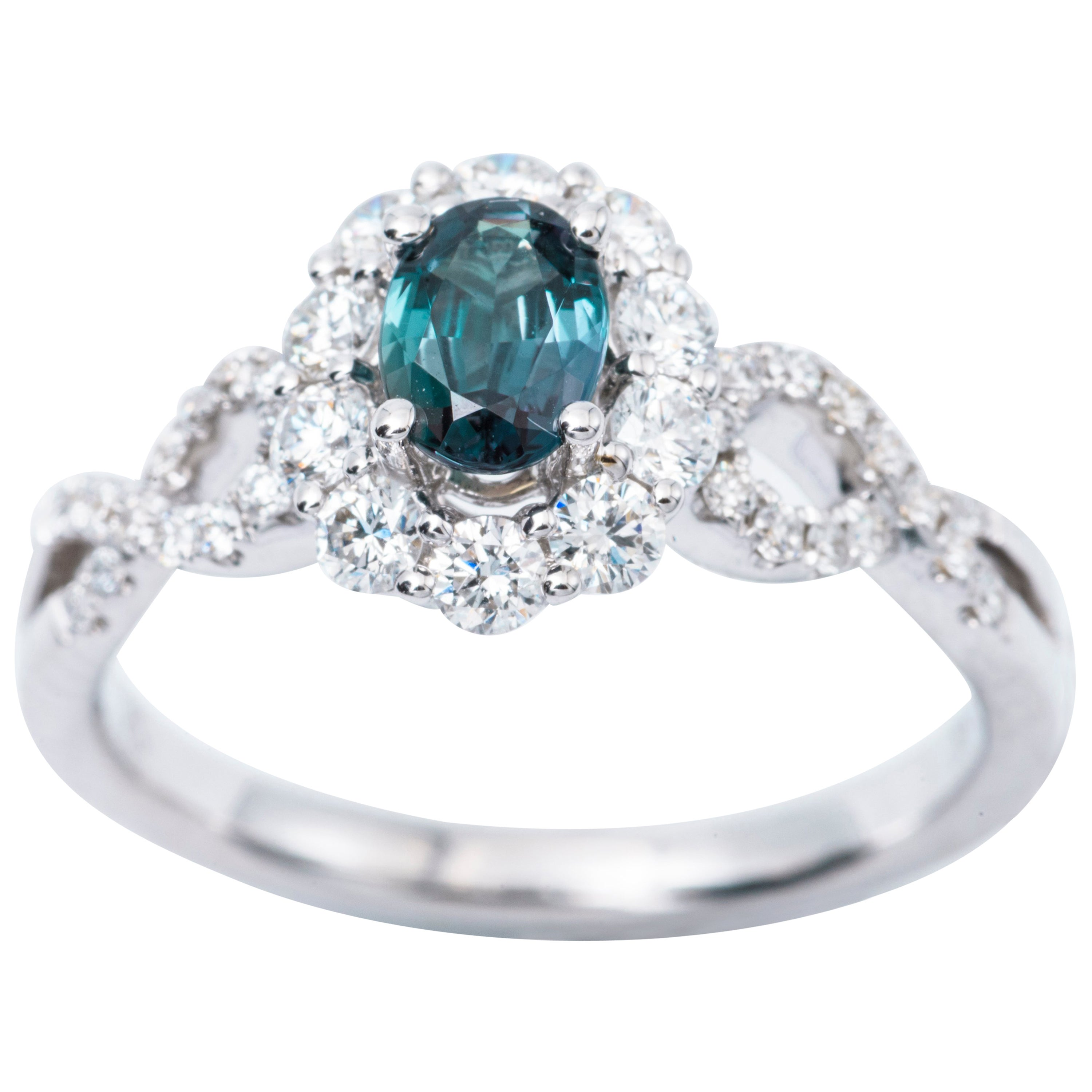 b368b610d29b4 Oval Alexandrite Diamond Color Changing Halo Engagement Ring with  Certificate For Sale at 1stdibs