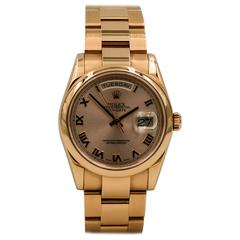 Rolex Rose Gold Day Date Oyster Bracelet Automatic Wristwatch
