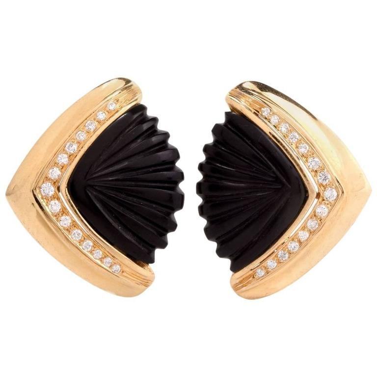 1960s Diamond Carved Onyx Gold Clip-On Earrings 1