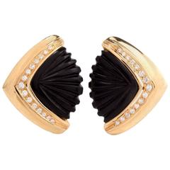1960s Diamond Carved Onyx Gold Clip-On Earrings