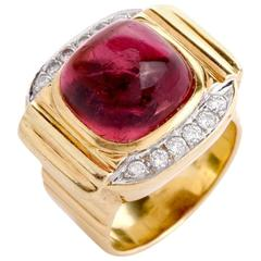 8.99 Carat Tourmaline Cabochon Diamond Yellow Gold Cocktail Ring