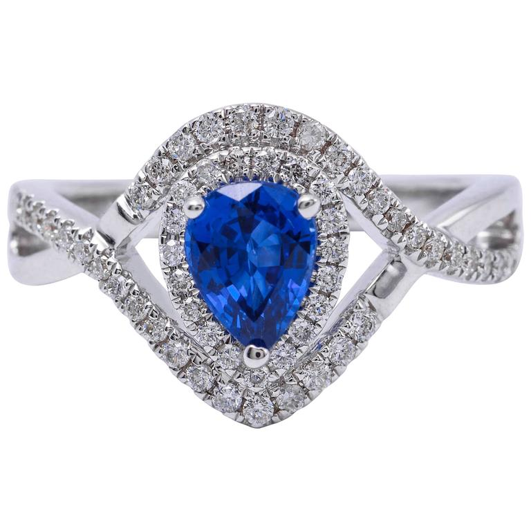 Pear Shape Sapphire Diamond White Gold Engagement Cocktail Ring For Sale