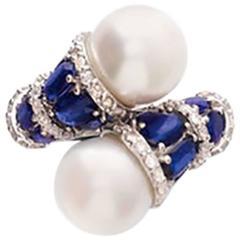 Kyanite Pearl Diamond White Gold Toi et Moi Ring