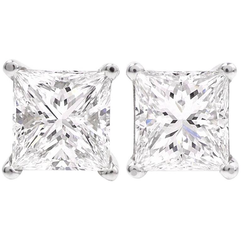 colorless macys white princess w t tw cut normal ct gold near stud diamond us s in lyst macy product earrings jewelry