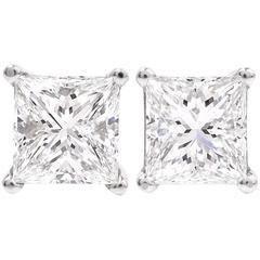 Certified GIA 2.01 Carat Princess-Cut Diamond Platinum White Gold Stud Earrings