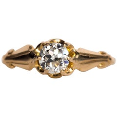 1890s Victorian GIA Certified .50 Carat Diamond Yellow Gold Engagement Ring