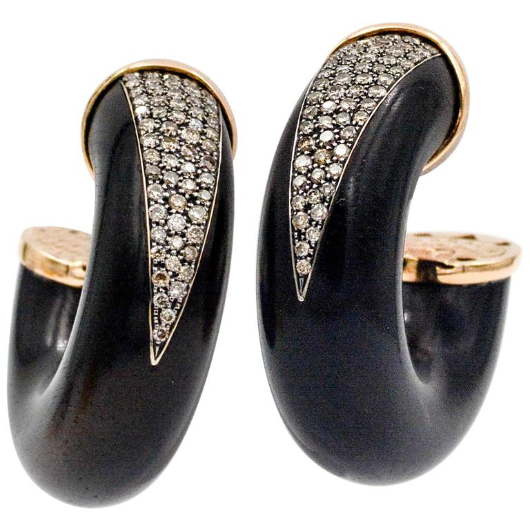 Rose Gold Oromalia Wood, 1.00 Ct Diamond Hoop Earrings