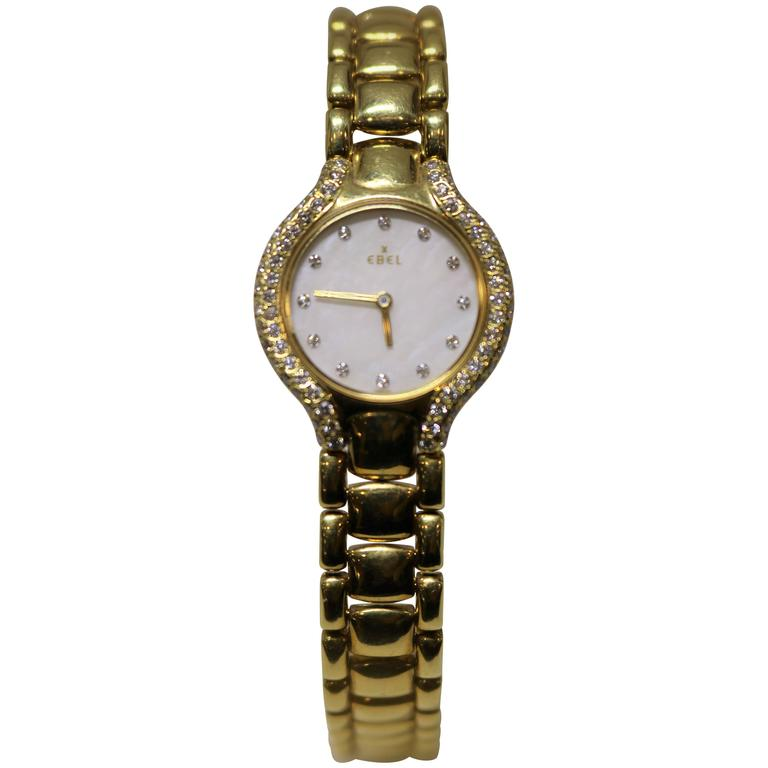 Ebel Beluga Ladies 18 Karat Yellow Gold Diamond Bezel and Dial Watch