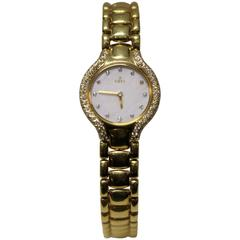 Ebel Beluga Ladies 18 Karat Yellow Gold Diamond Bezel and Dial Watch
