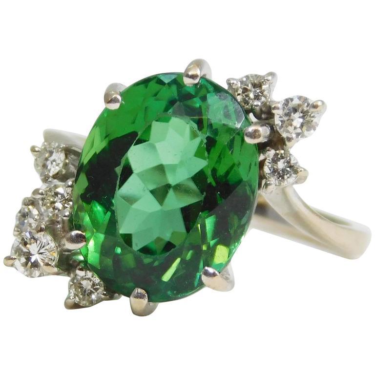 Rare 9 Carat Green Tourmaline Diamond White Gold Ring, circa 1950