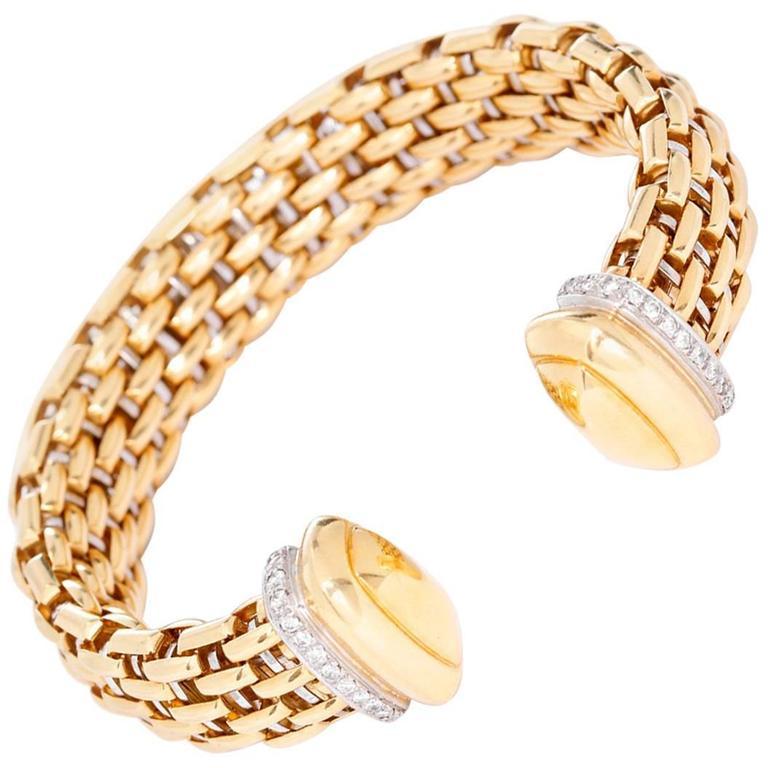 Diamond Yellow Gold Cuff Bracelet 1