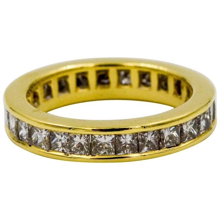 2.00 Carat Princess Cut Diamonds Yellow 18 Karat Gold Eternity Band Ring