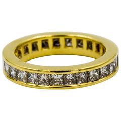 2.00 Carat Princess Cut Diamonds Yellow Gold Eternity Band Ring