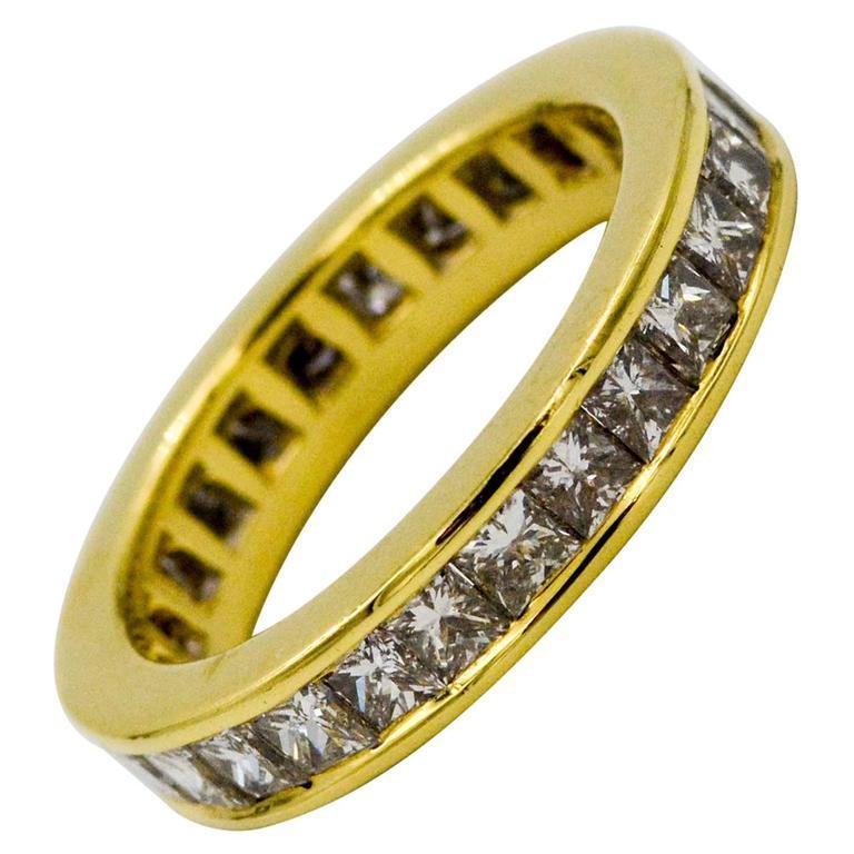 2.00 Carat Princess Cut Diamonds 18 Karat Yellow Gold Eternity Band Ring