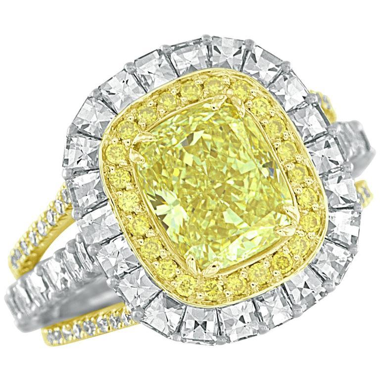 GIA Certified 2.40 Carat Cushion Cut  Fancy Yellow Diamond Gold & Platinum Ring