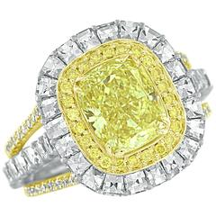 Bez Ambar Fancy Intense Yellow Diamond Gold Platinum Ring