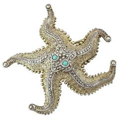 Theodor Fahrner 1930s Art Deco Turquoise Marcasite Gilt Silver Starfish Brooch