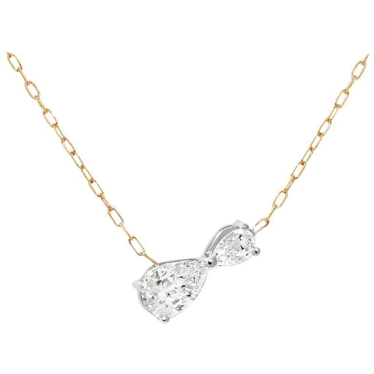 Lizunova Infinity Pear Cut Diamond Pendant Chain Necklace