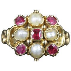 Antique Georgian Ruby Pearl Ring 18 carat Gold, circa 1800