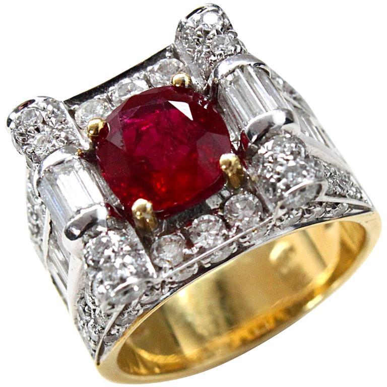 Retro Ruby Diamond Cocktail Ring 1
