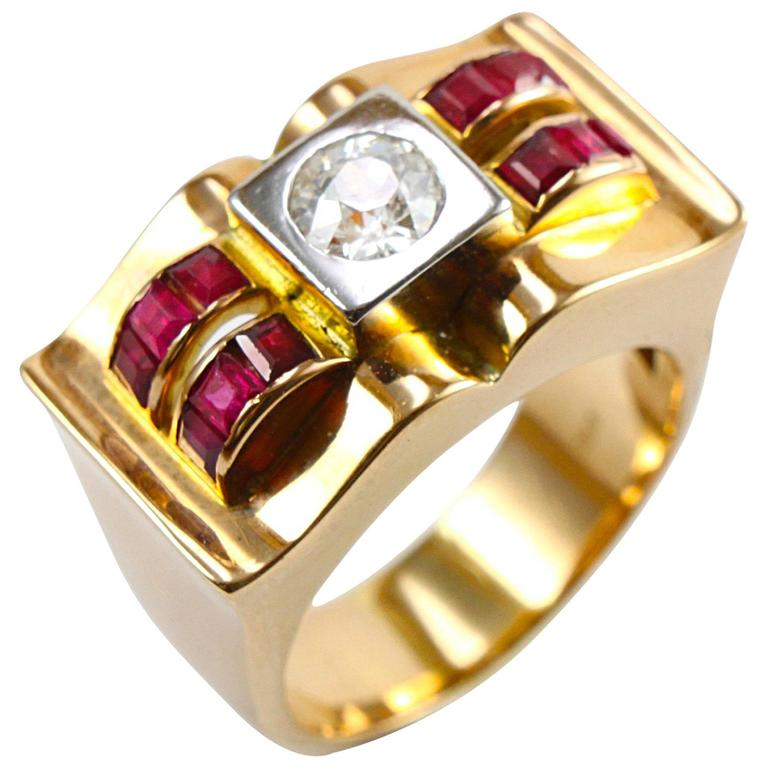 18K Gold Retro Diamond and Ruby Ring, circa 1940s