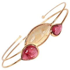 Pink Tourmaline Citrine Yellow Gold Bangle Bracelets