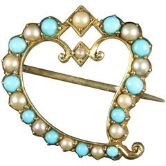 Antique Victorian Witches Heart Brooch Turquoise Pearl 15 Carat Gold