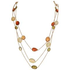 Marion Jeantet Opal Hessonite Garnet Green Tourmaline Yellow Gold Necklaces