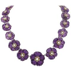 Amethyst Emerald Silver Gold Flowered Link Necklace