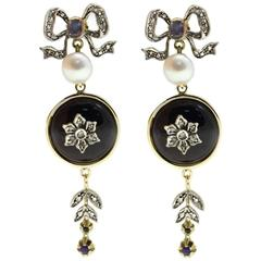 Gold Silver Diamond Sapphire Pearl Onyx Dangle Earrings