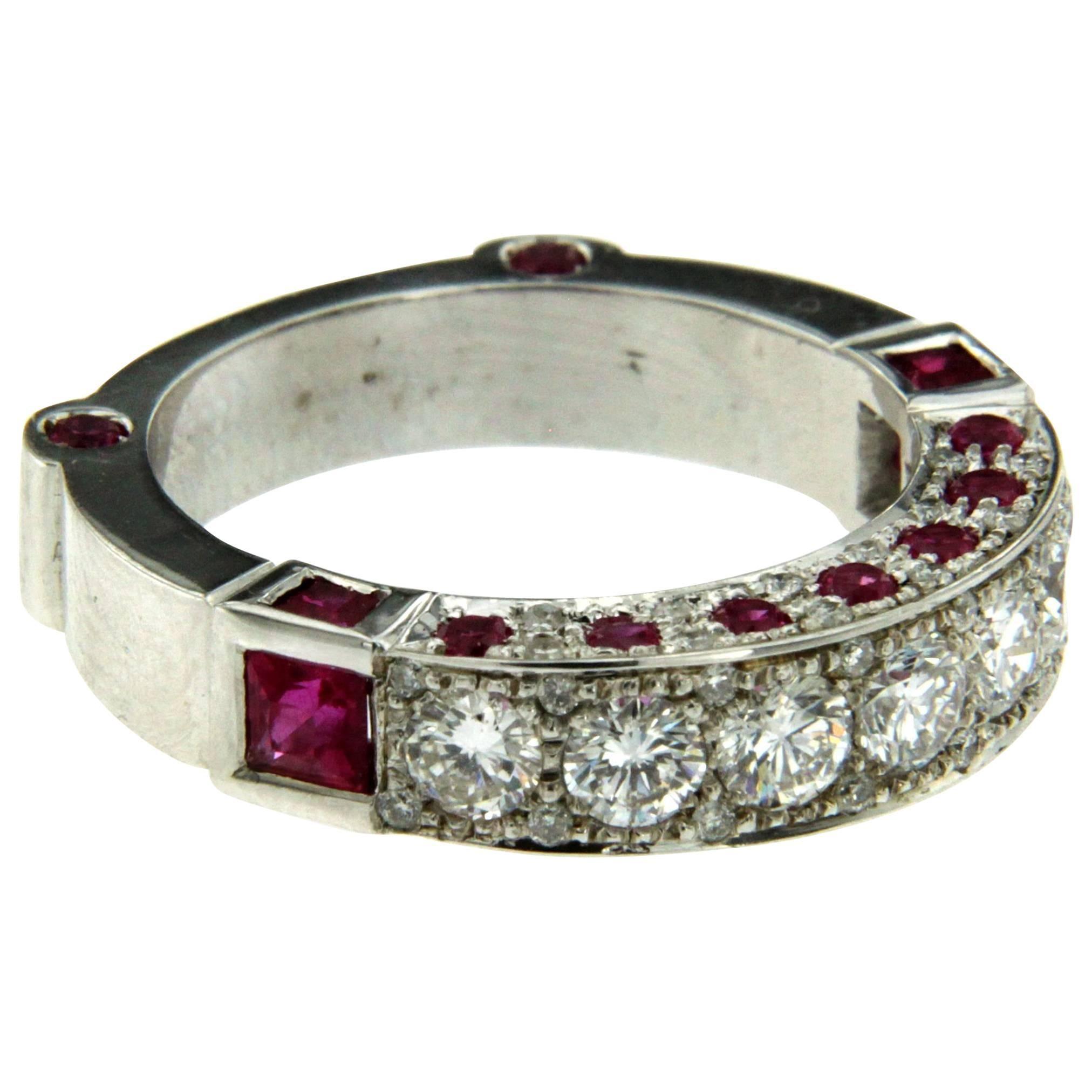 Ruby Diamond Gold Band Ring